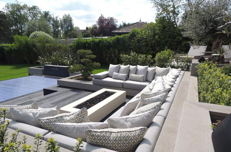 Specialist Outdoor cushions for outdoor living seating areas with fire pits, fire tables, chimeneas and barbeques