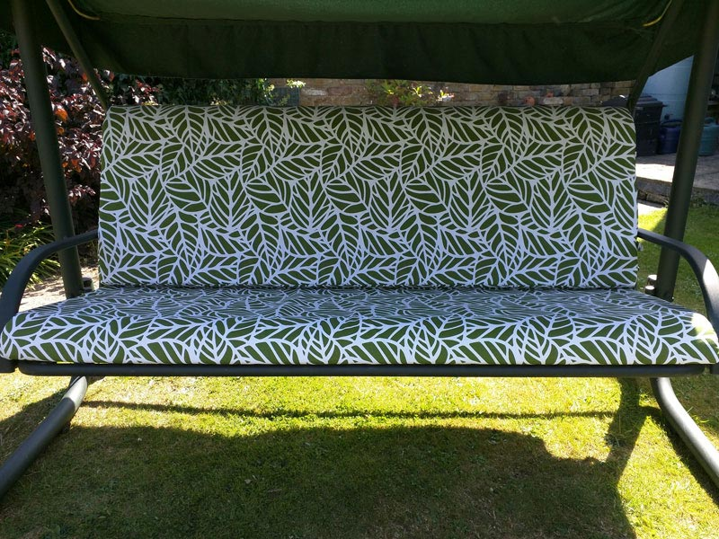 New outdoor seat cushions for a swing bed