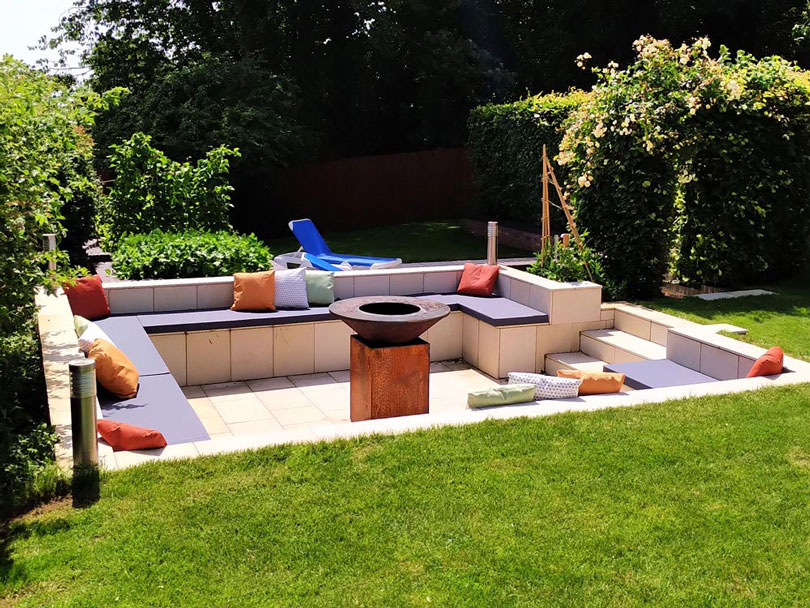 Bespoke Outdoor furnitue seat cushions for a sunken, firepit seating area