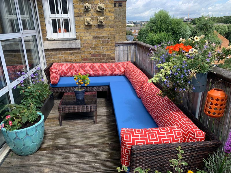 Bespoke Outdoor seat and cushions for a balcony terrace seating area