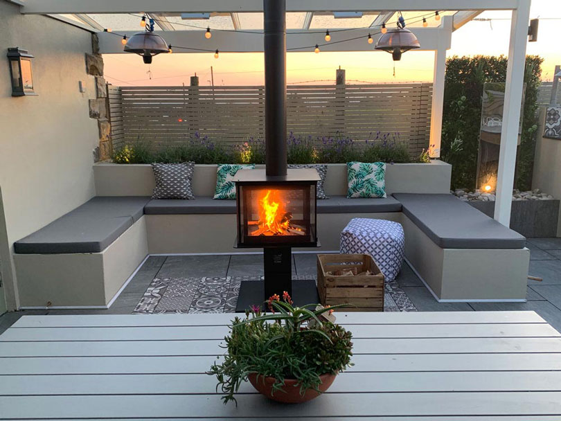 Our Bespoke Outdoor seat, backrest and scatter cushions are suitable for lounge seating areas with a firepit or firebox.