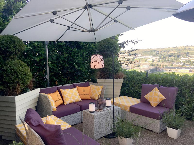 Outdoor seat cushions and sctter cushions for  an outdor furniture suite