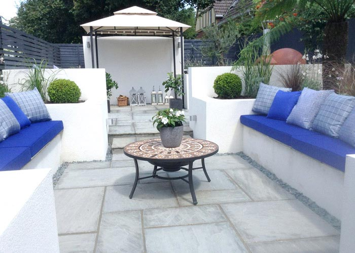 New outdoor foam cushions for a garden seating area