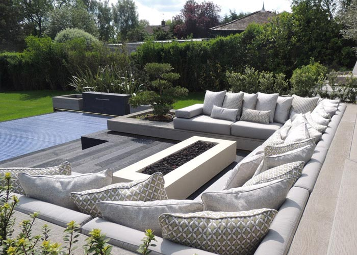 Bespoke Outdoor seat and scatter cushions for custom built garden patio seating area