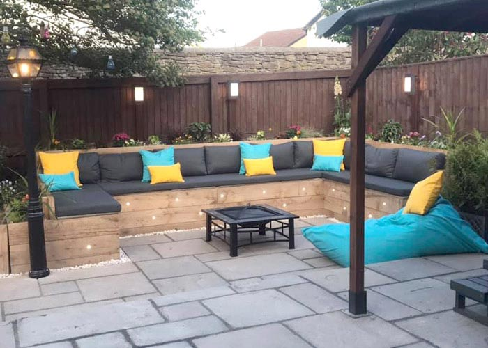 Bespoke Outdoor cushions, scatter cushions and matching bean bag for a courtyard seating area