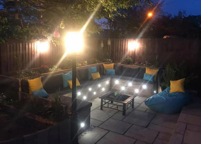 Bespoke outdoor cushions and outdoor scatter cushions for a courtyard timber garden seating area