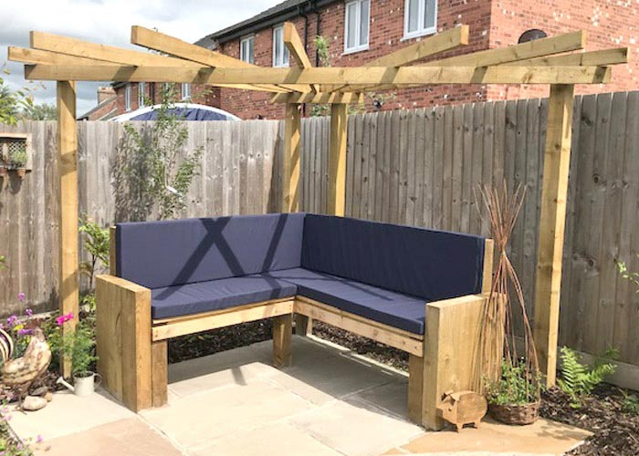 Bespoke Outdoor cushions for a patio timber-built seating area