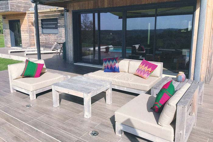 Bespoke sun and waterproof seat and scatter cushions for an outdoor patio area
