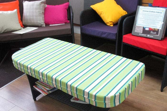A selection of outdoor cushion options on display in our showroom