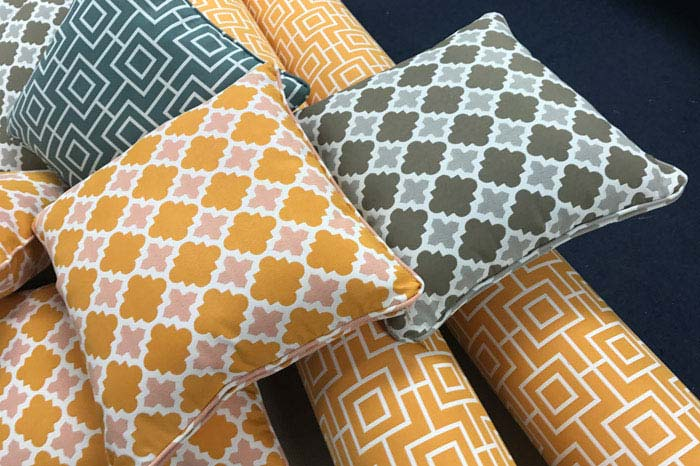 A set of new bespoke outdoor cushions ready for delivery