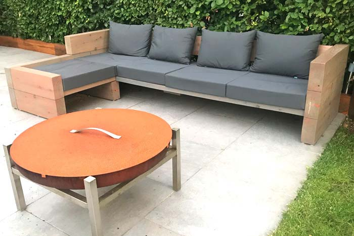Bespoke outdoor waterproof seat cushions for a patio seating area