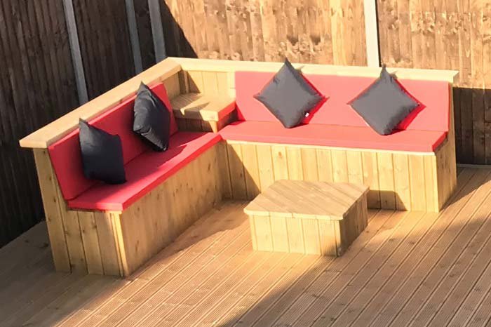 Outdoor cushions for a customer's decked seating area
