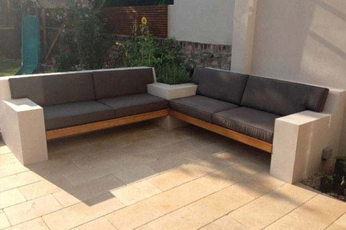 Bespoke outdoor sun and waterproof seat and backrest cushions for a garden seating area