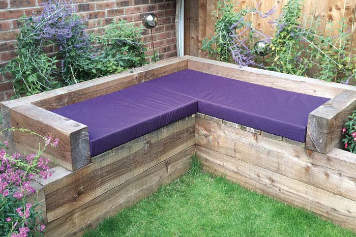 Bespoke Outdoor cushions for a timber garden seating area